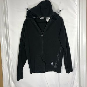Women's black Reebok zip up hooded sweater small